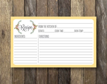 Floral 3x5 Recipe Card - Printable Yellow Recipe Card - Instant Download Recipe Cards - Rustic Recipe Card - Bridal Shower Printables