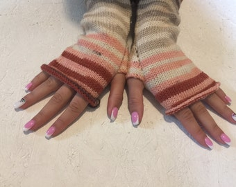 sale 20% off ! Knit Fingerless gloves  Mittens  Long Arm Warmers Boho Glove Women Fingerless Wrist multicolored gloves Ready to ship!