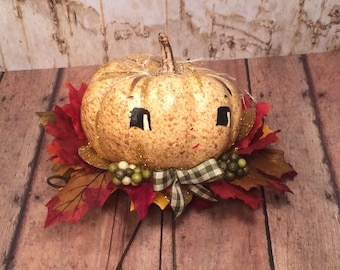 Pumpkin boy fall decor thanksgiving decor vintage retro inspired anthropomorphic autumn art doll tomi kelly original