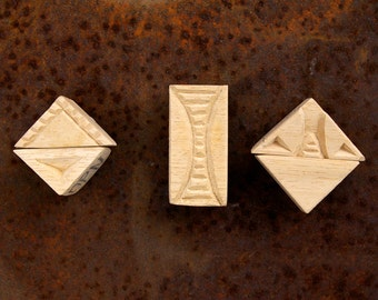 Carved Textile Stamps, African Design Set, Oshiwa Wood Printing Blocks, Item Set 6