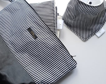 Black and White stripe baby change clutch/wet bag/diaper clutch/travel change bag/make up bag/Gift set