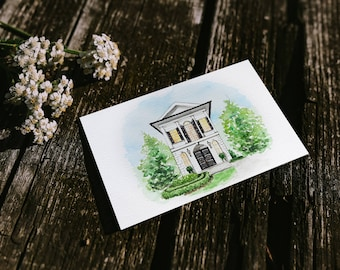 Custom House Portrait of your Home or Cottage, Housewarming gift, Original Watercolor Architectural Painting, Art print for real estate