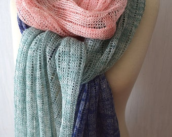 Linen Shawl Scarf Knit Natural Summer Wrap for  Women in Mint Green Salmon Blue Violet White