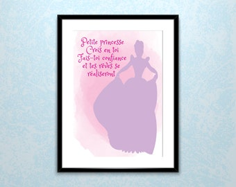 "Kids digital poster ""Princess Trust yourself, trust yourself and your dreams come true"""