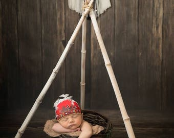 Red Indian headress, infant, native, american, embroider, newborn headband, native, feathers, headdress, native american, baby photo prop