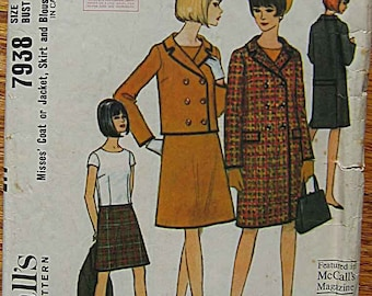 Vintage 60's Misses' Double-Breasted Coat or Jacket, Skirt, Blouse, McCall's 7938 Sewing Pattern Size 14