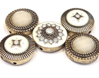 Five 2 Hole Slider Beads Antiqued Brass Plated Ivory Enamel, Faceted Acrylic Cabs & White Opal Rhinestone Flower Victorian Renaissance Beads