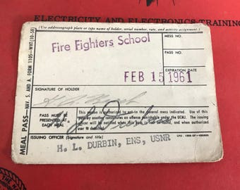 1961 US Navy Meal Card Firefighting Course for Surface Warfare Officer