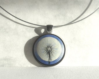 Dandelion Necklace, Dandelion Choker Necklace, Hand Painted Pendant, Painting Necklace, Handmade Jewelry