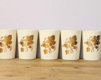 Vintage 1970's Gold Grape Leaf Ceramic Tumblers Cups 5