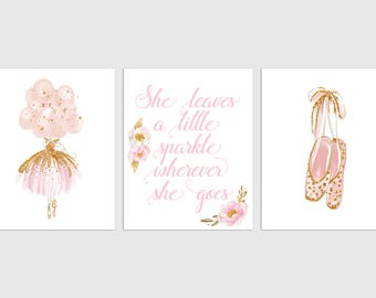 Ballerina Nursery Print, She leaves a little sparkle, Teen Room Decor, Ballet Pointe Shoes, Pink Nursery Art, Ballerina Nursery Decor
