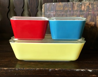 Complete Primary Pyrex Refrigerator Set of 4 (503, 502, 501, 501)