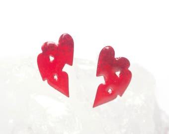 Heart Studs, Heart Post Earrings, Heart Stud Earrings, Enamel Jewellery, Heart Jewellery, Bridesmaid Gift, Lipstick Red, Girlfriend Gift