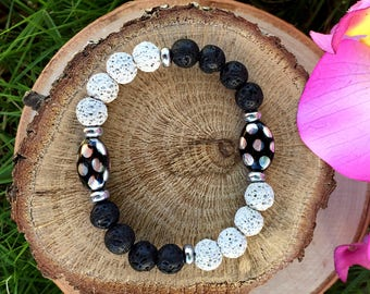 Essential Oil Diffuser Bracelet Om Bracelet Lava Rock Bracelet Aromatherapy Bracelet Meditation Bracelet Mala Bracelet Gift