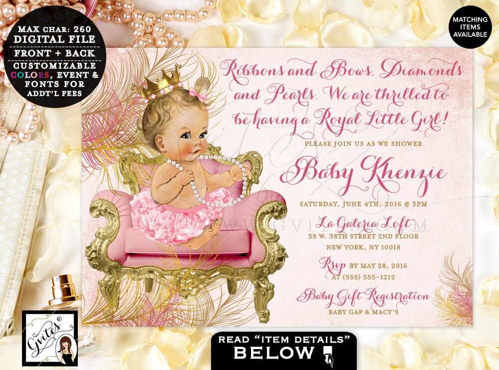 Blush pink and gold royal princess baby shower invitations vintage