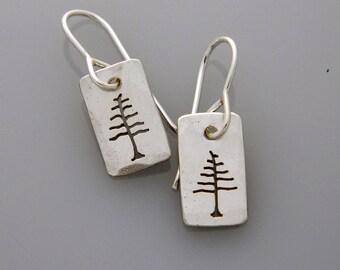 """Silver jewelry, silver tree earrings, nature jewelry """"Little Trees"""" earrings"""