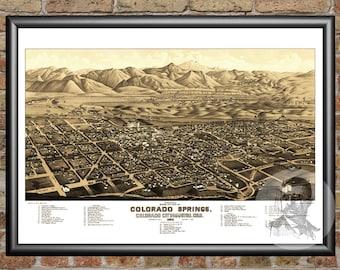 Colorado Springs,Colorado Art Print From 1882 - Digitally Restored Old Colorado Springs,CO Map Poster - Perfect For Fans Of Colorado History