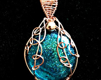Hand-made Pendant ~ Teal Sparkle
