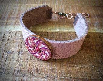 Mandala Bracelet - Leather Cuff Bracelet - Red and Purple Mandala - Gypsy Bracelet - Pastel Pink Distressed Leather