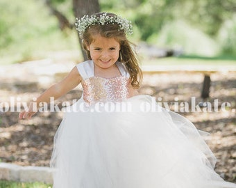 Gold Sequin Flower Girl Party Dresses, Tulle Gown, Formal Dress, Ivory, White, Wedding Baby, Rose Gold, Princess Toddler Portraits Dress