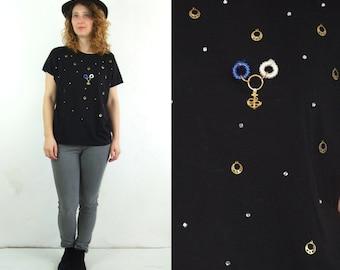 SALE 80's vintage women's black T-shirt