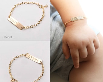Gold bar necklacesbracelets custom handwriting by chicingold custom baby name bracelet adjustable baby toddler child id bracelet personalized girl boy gift negle