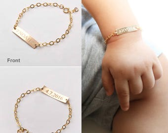 Gold bar necklacesbracelets custom handwriting by chicingold custom baby name bracelet adjustable baby toddler child id bracelet personalized girl boy gift negle Image collections