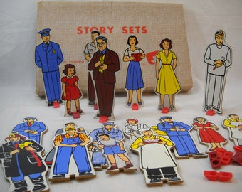 Vintage Story Sets By Judy Wooden Paper Dolls Free Shipping