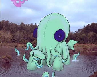 Real Plushies: Cthulhu Lake Fine Art Print