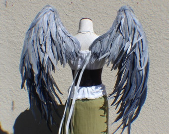 Custom XXX Large dark and light gray resting feather wings