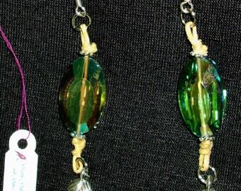 GREEN Swarovski Crystal Earrings -  Hemp cord, Tibetan Silver leaves, Light catching, RedRobinArt, Grigsby Gallery