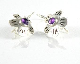 Amethyst Earrings, Flower Earrings Amethyst Jewelry, Spring Blossom Earrings Sterling Silver Earrings, Floral Jewelry