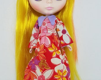 Tropical flowers collared Blythe dress