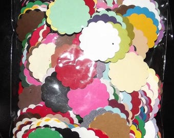 """300+ SCALLOP 1 1/4"""" CIRCLE Cardstock PUNCHIES for Scrapbooking and Cardmaking"""