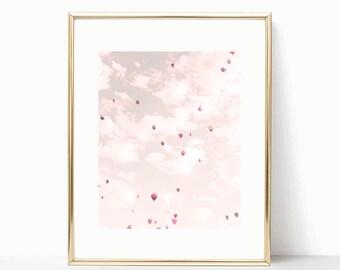 Hot air balloon nursery, girl nursery decor girl nursery wall art girl, violet, lavender, toddler girl room decor, framed wall art, purple