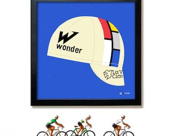 Cycling Cap Print, Bike Art, Tour de France, La Vie Claire