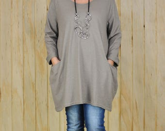 Lagenlook Womens Plus Size Tunic Top, MOCHA, Womens Clothing, Bohemian, Stretch Jersey Cotton Lagenlook Clothing,  UK 16-26  8770