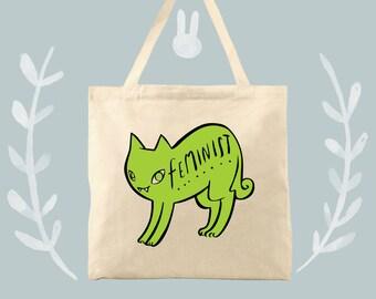 Winnie the feminist kitty cotton canvas tote bag