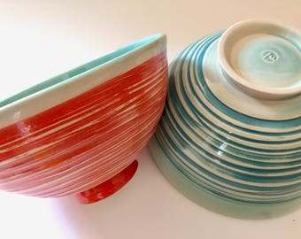 Two Handmade Ceramic Serving Bowls, for Salad, Mixing, Soup, Valentine's Gift, Celadon with Orange and Teal. Price is for 2 bowls. [LuLumud]