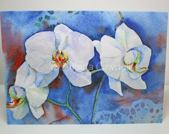 Orchid - blank greetings card, Orchid Card, Watercolour Card, Watercolor Card