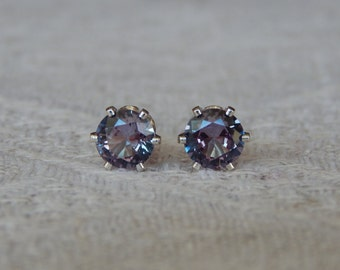 Alexandrite 5mm Studs, BEST SELLER, Alexandrite Sterling Earrings, Color Change Alexandrite Posts, June Birthstone, Lab Created Alexandrite