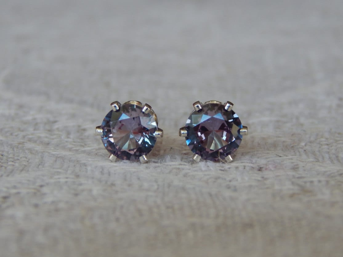 russian products resplendent vintage stud natural alexandrite earrings fetheray synthetic