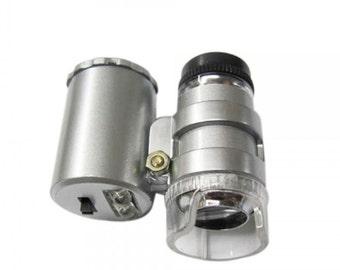 60X Portable Jeweler Microscope Magnifier Eye Loupe with UV LED Illumination....Free Shipping in US!