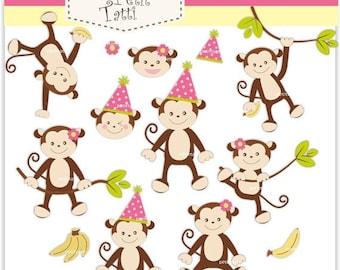 ON SALE monkey girls clip art - Digital clip art, monkey clip art, baby monkey birthday party girls, instant download