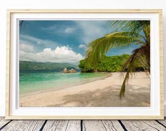 Beach & Green sea . Photo. Landscapes of Spain. Sun and light. Printable image for download. From Spain with Love