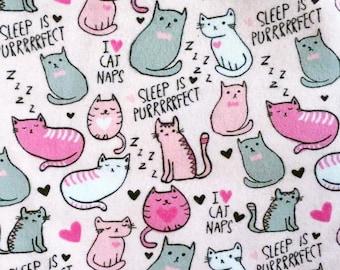 Snuggle Flannel Prints - I Love Cat Naps - 1/2 Yard