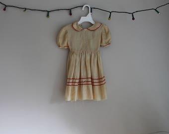 Girls Raw Silk Dress Vintage // ric rac // vintage