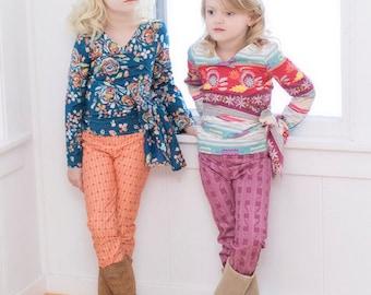 Leah's Wrap Top. PDF sewing patterns for girls sizes 2t-12