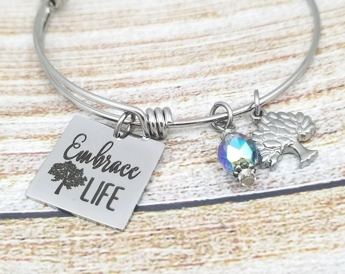 Embrace Life Customizable Expandable Bangle Charm Bracelet, strength, courage, inspire, rooted, grounded, resist, persist, love, conquer