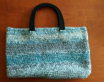 Blue/Gray Crocheted Tote Bag